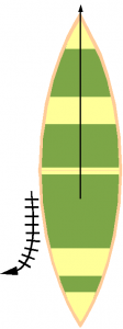 J-stroke in a canoe is a power stroke moving back along the side of the canoe and angling out away from the canoe at the end.