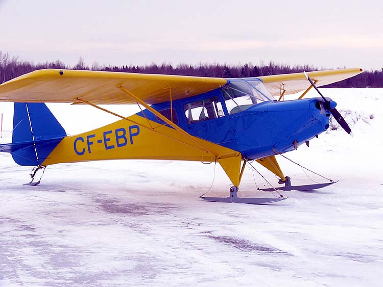 Avro Canada Fleet Canuck, a small two seat, high-wing monoplane built in the late 1940s with fabric over a tube frame. It could fly with wheels, floats or skis.